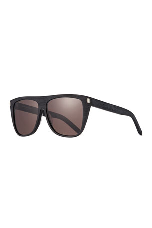 Saint Laurent Men's Black-Pattern Rectangle Acetate Sunglasses