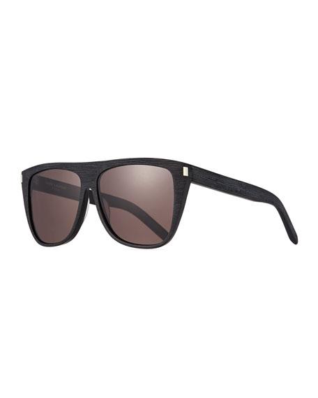 Saint Laurent Men's Black-Pattern Rectangle Acetate Sunglasses