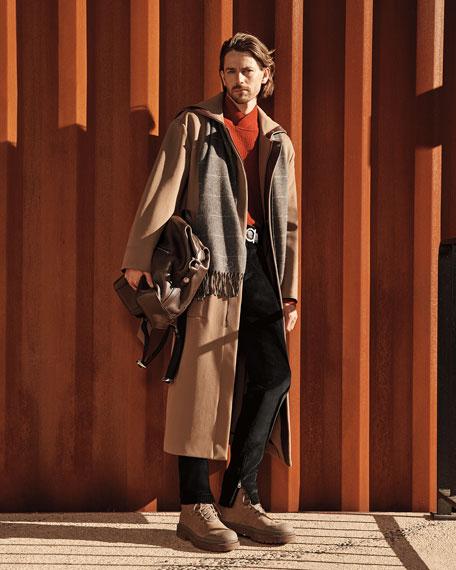 Salvatore Ferragamo Men's Wool Zip-Front Coat w/ Leather Trim