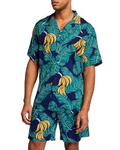 Men's Monkey Forest Tropical-Print Camp Shirt
