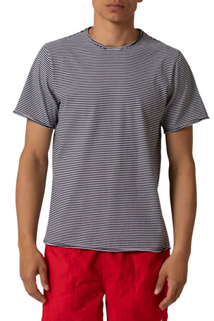 Ovadia Men's Raw-Edge Striped Crewneck T-Shirt