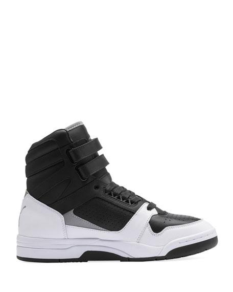 SchwarzWeißGold Herren Puma Clyde Basketball Schuhe Zu