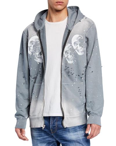 Men's Amigos Skull-Pattern Zip-Front Hoodie