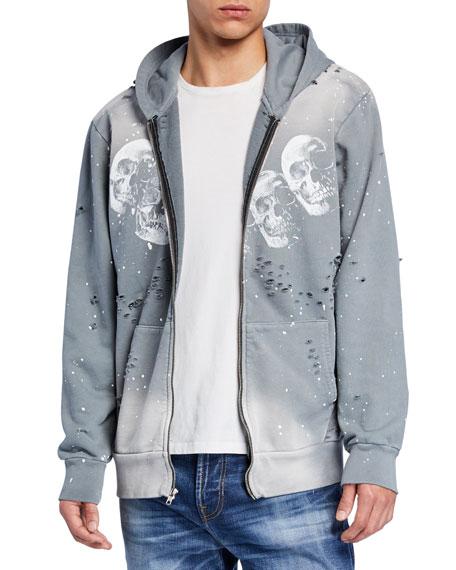 Domrebel Men's Amigos Skull-Pattern Zip-Front Hoodie