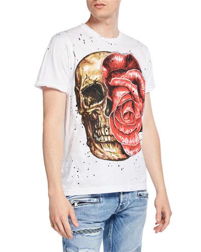 Men's Flower Skull Graphic T-Shirt
