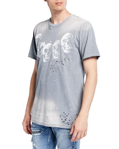 Men's Amigos Distressed Skull Graphic T-Shirt