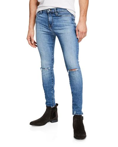 Men's Jagger True Skinny Distressed Knee-Rip Jeans