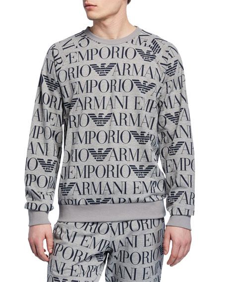 Emporio Armani Men's Logo Graphic Terry Crewneck Sweatshirt