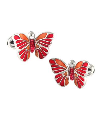 Enamel Butterfly Cufflinks  Red