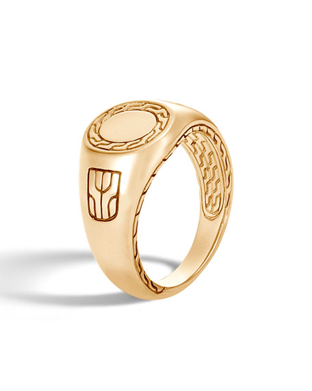 John Hardy Men's Classic Chain 18K Gold Signet Ring