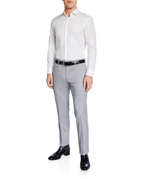BOSS Men's Genesis Slim-Fit Wool Trousers, Light Gray