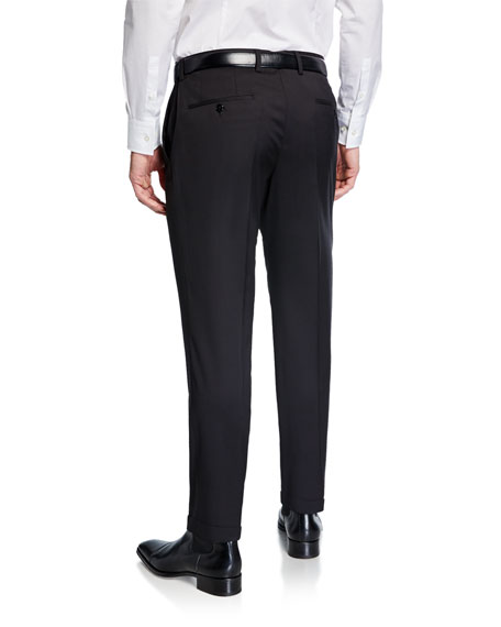 BOSS Men's Genesis Slim-Fit Wool Trousers, Black