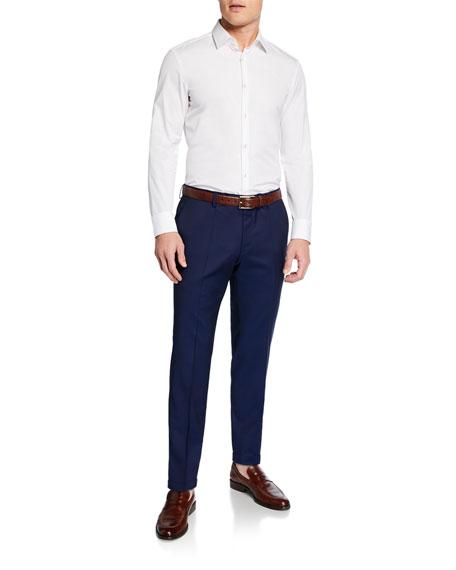 BOSS Men's Genesis Slim-Fit Wool Trousers, Dark Blue