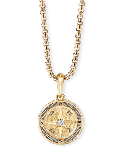 Men's Maritime Compass Amulet with Diamond Center