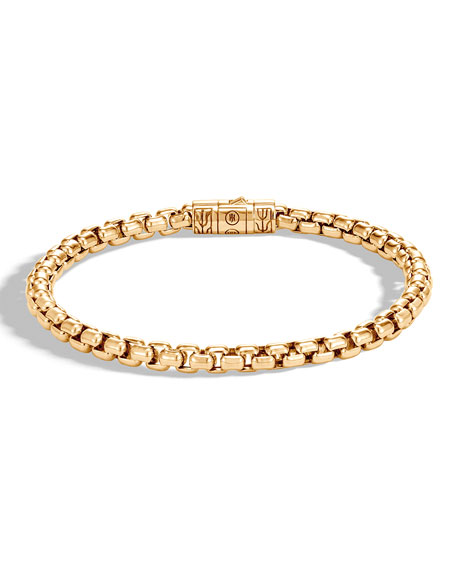 John Hardy Men's Classic Chain 18K Gold 5mm Box Chain Bracelet with Pusher Clasp