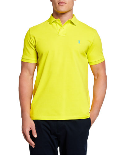 Men's Logo-Embroidered Polo Shirt  Yellow
