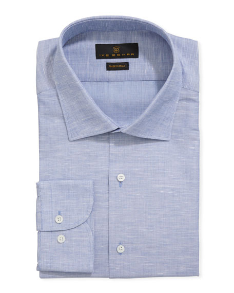 Ike Behar Men's Solid Cotton/Linen Dress Shirt, Gray