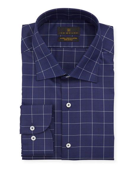 Ike Behar Men's Windowpane Cotton Dress Shirt