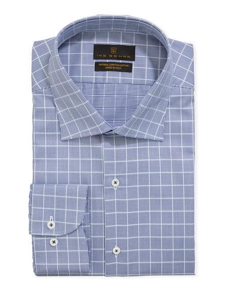 Ike Behar Men's Stretch Cotton Check Dress Shirt