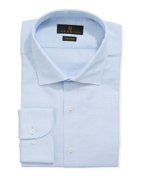 Ike Behar Men's Cotton/Linen Dress Shirt, Blue