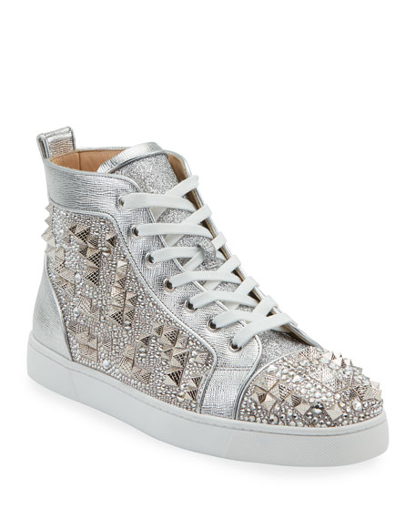 Christian Louboutin Men's Studded Metallic Leather High-Top Sneakers
