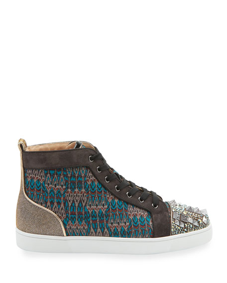 Christian Louboutin Men's Louis Mixed-Media Spiked High-Top Sneakers