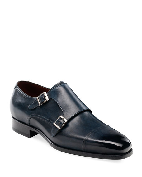 Magnanni Men's Wooster Double-Monk Leather Shoes