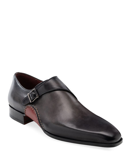 Image 1 of 3: Magnanni Men's Carrera Single-Monk Leather Shoes