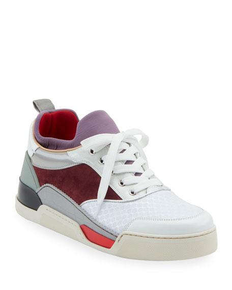 Christian Louboutin Men's Aurelien Colorblock Mixed-Media Trainer Sneakers