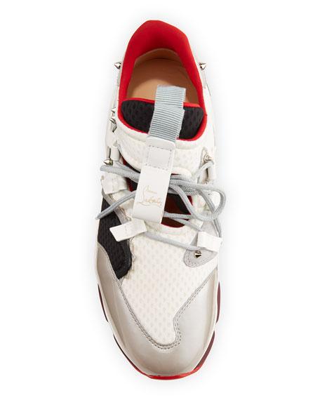 Christian Louboutin Men's Red-Runner Colorblock Spike Trainer Sneaker