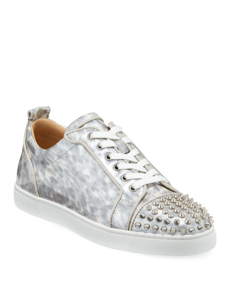 Christian Louboutin Men's Louis Junior Orlato Leather Sneakers with Spikes