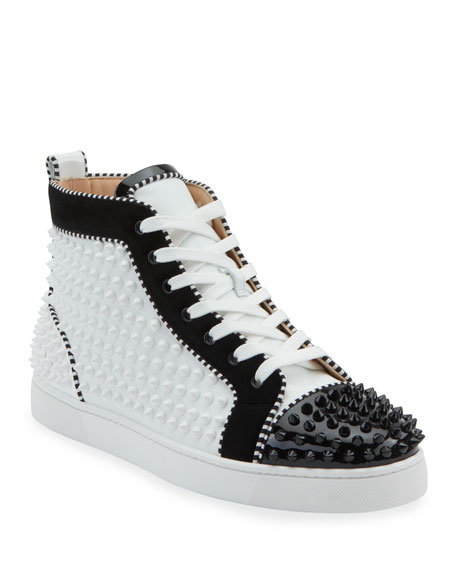 Christian Louboutin Men's Louis Spikes 2 Leather High-Top Sneaker