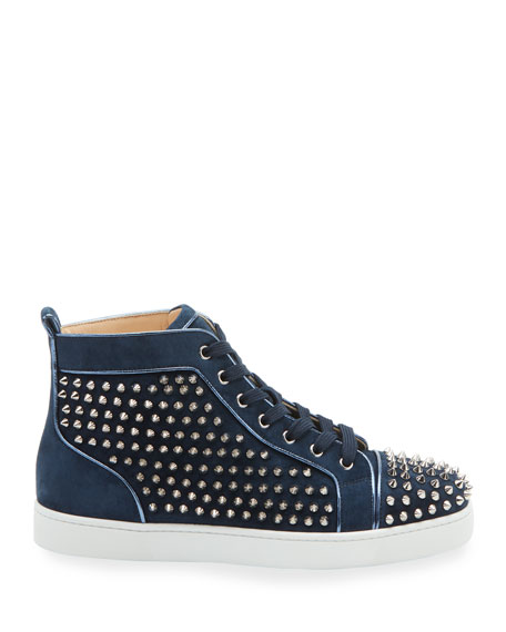 Christian Louboutin Men's Louis Orlato Spiked Suede Sneakers