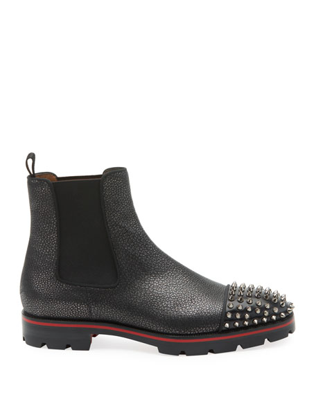 Christian Louboutin Men's Melon Spikes Pebbled Leather Chelsea Boots