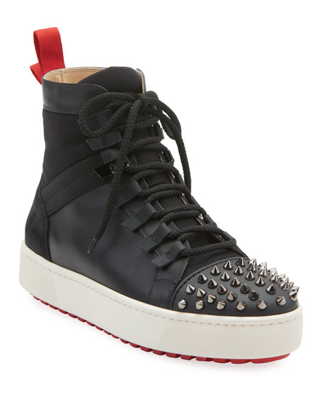 Christian Louboutin Men's Spike Leather Red Sole Trainer Sneakers