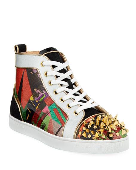 Christian Louboutin Men's Lou Pik Pik Orlato Multicolor Spiked Sneakers