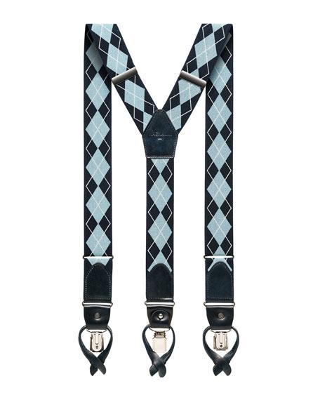 Magnanni Men's Argyle Braces w/ Leather Trim
