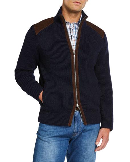 Neiman Marcus Men's Cashmere Zip Sweater with Suede Detail