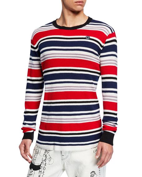 Scotch & Soda Knits Men's 3D Waffle-Knit Long-Sleeve Striped T-Shirt