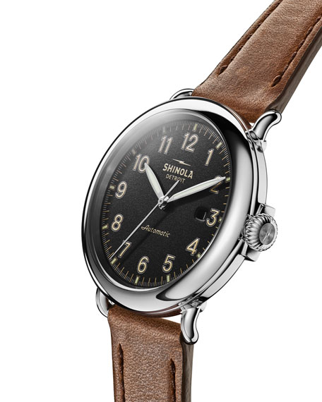 Shinola Men's 45mm Runwell Automatic Leather Watch
