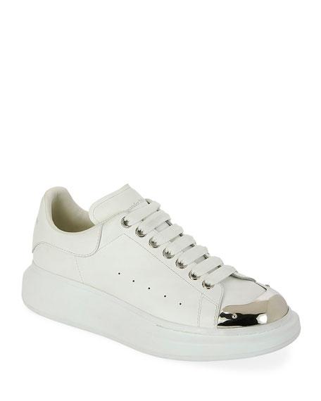 Alexander McQueen Men's Larry Metallic-Toe Platform Sneakers