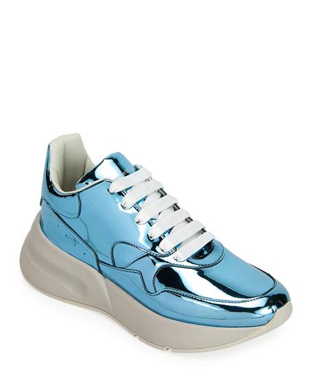 Alexander McQueen Men's Chunky Metallic Leather Running Sneakers