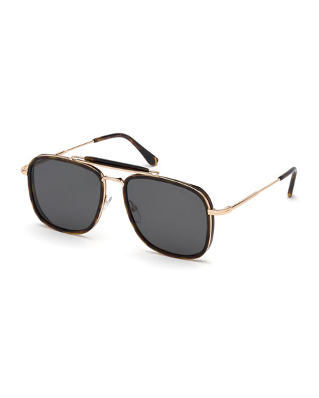 TOM FORD Men's Huck Metal Aviator Sunglasses