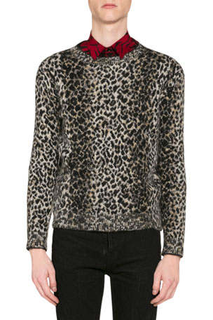 Saint Laurent Men's Leopard-Print Wool Sweater