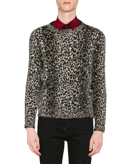 Saint Laurent Men's Leopard-Print Wool Sweater