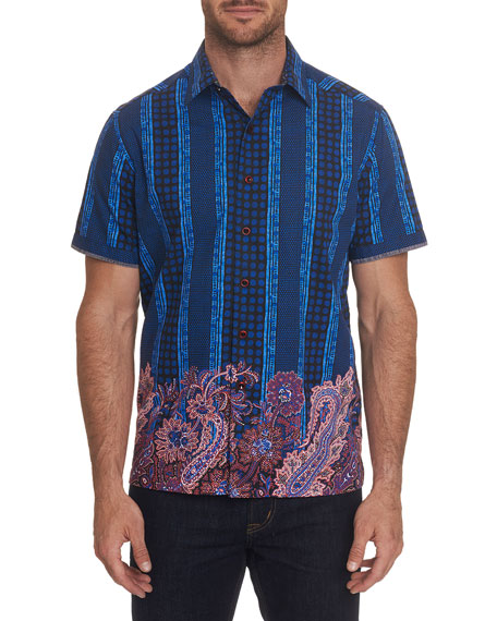 Robert Graham Men's Mixed-Print Short-Sleeve Shirt