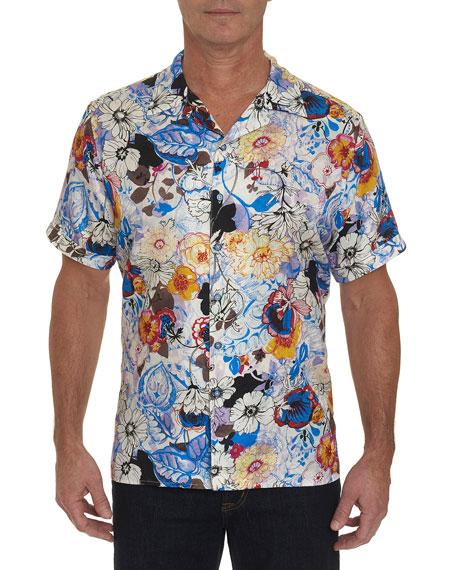 Robert Graham Men's Pezula Floral-Print Silk/Cotton Sport Shirt