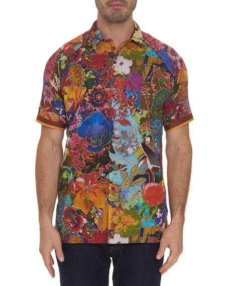 Robert Graham Men's Landscapes Floral-Print Linen Sport Shirt