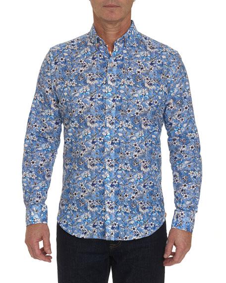 Robert Graham Men's Cameron Floral-Print Linen/Cotton Sport Shirt