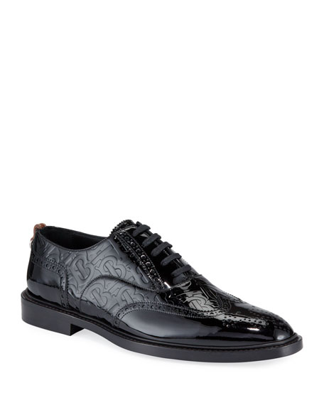 Burberry Men's Lennard TB-Embossed Leather Oxford Shoes